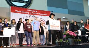 Representatives from small groups give the final message from the U.S. Regional World Meeting of Popular Movements Feb. 19 in Modesto, Calif. (CNS photo/Dennis Sadowski) See WMPM-CONCLUSION Feb. 21, 2017.