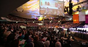 Thousands gathered at the Anaheim Convention Center Arena for an opening event at Religious Education Congress in 2016. This year, organizers expect more than 40,000 participants from 20 countries at the event, the largest gathering of Catholics in the United States.