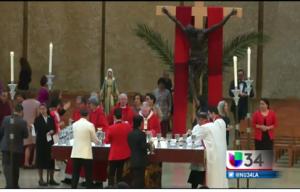 Se celebró la tradicional misa de Domingo de Ramos en la catedral de Los Ángeles